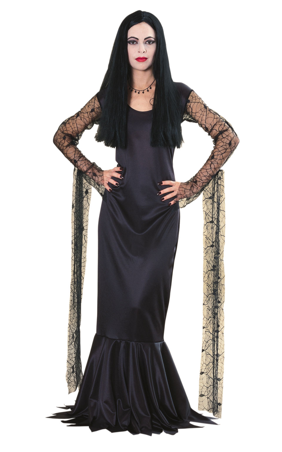 Adams Family Morticia Fancy Dress Costume Outfit Adult Womens Ladies UK 8-18