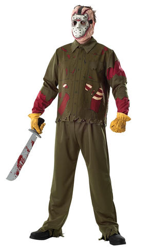 Deluze Jason Voorhees Halloween Fancy Dress Costume Outfit Mens Male Std Or XL