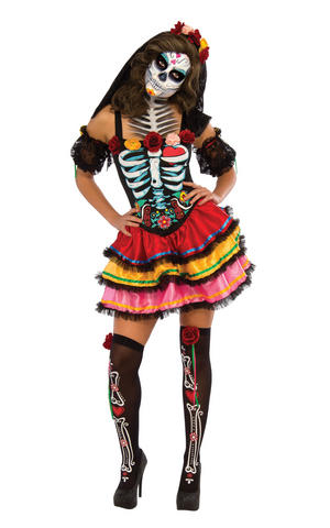 Day Of The Dead Skeleton Fancy Dress Costume Halloween Womens Ladies UK 8-22