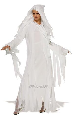 Ghost Spirit Fancy Dress Costume Outfit Halloween Womens Ladies Std - XL