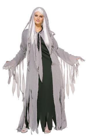 Ghost Midnight Spirit Fancy Dress Costume Outfit Halloween Womens Ladies Std-XL