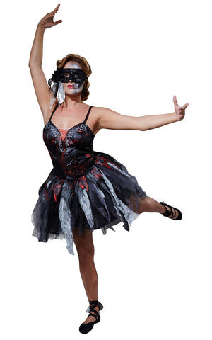 Dead Ballerina Black Fancy Dress Costume Outfit Halloween Womens Ladies UK 6-18