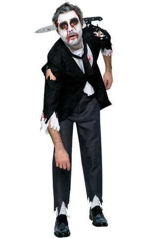 Bloody Butler Fancy Dress Costume Outfit Halloween Zombie Mens Male Std Or XL