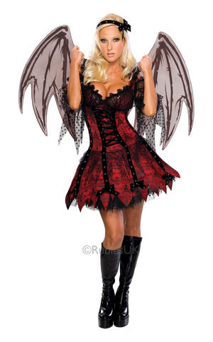 Fairy Gothic Vampire Fancy Dress Costume Outfit Halloween Womens Ladies UK 6-18