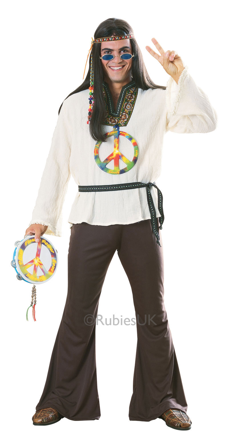 1970s Hippy HIppie Fancy Dress Costume Outfit 70s Retro Mens Male Std Or XL