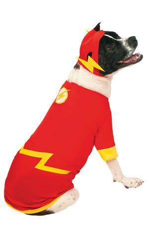 Rubies The Flash Fancy Dress Costume Outfit Dog Superhero Pet Animal S To XL