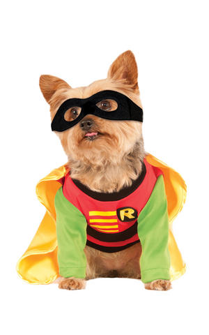 Robin Fancy Dress Costume Outfit Dog Teen Titans Batman Pet Animal S To XL