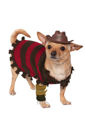 Freddy Kreuger Fancy Dress Costume Halloween Outfit Dog Pet Animal S To XL