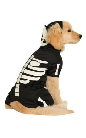 Skeleton Hoodie Fancy Dress Costume Outfit Dog Halloween Pet Animal S To XXL