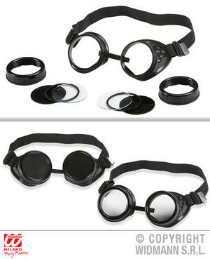 Aviator Explorer Goggle Glasses With Multiple Lens Fancy Dress Costume Accessory