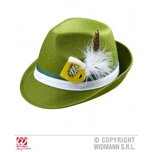 Green Bavarian Felt Fedora With Feathers Octoberfest Beer Festival Fancy Dress
