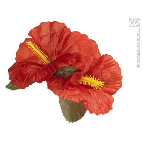 2 x Red Hibiscus Flower Hair Clips Hawaiian Hula Grl Spanish Fancy Dress Prop