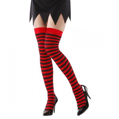 Red & Black Striped Over The Knee Socks Dennis The Menace Style Fancy Dress 70 D
