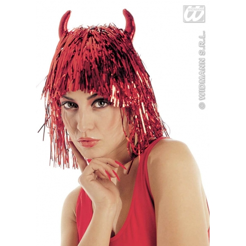 Red Tinsel Devil Wig With Horns Naughty Satan Halloween Fancy Dress Accessory