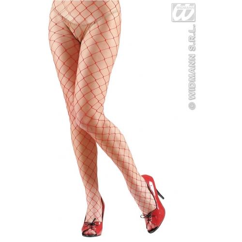 Ladies Red Wide Fishnet Tights Gothic Halloween Punk Fancy Dress Accessory