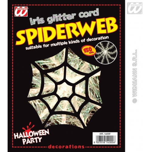Spider Web Iridescent Glitter Cord 150Cm Black Widow Halloween Fancy Dress Prop