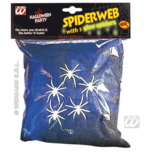 Black Spider Cob Web Halloween Party Decoraition With 5 Spiders - 100g