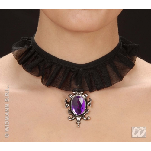Gothic Goth Choker With Purple Gem Halloween Witch Fancy Dress Jewellery