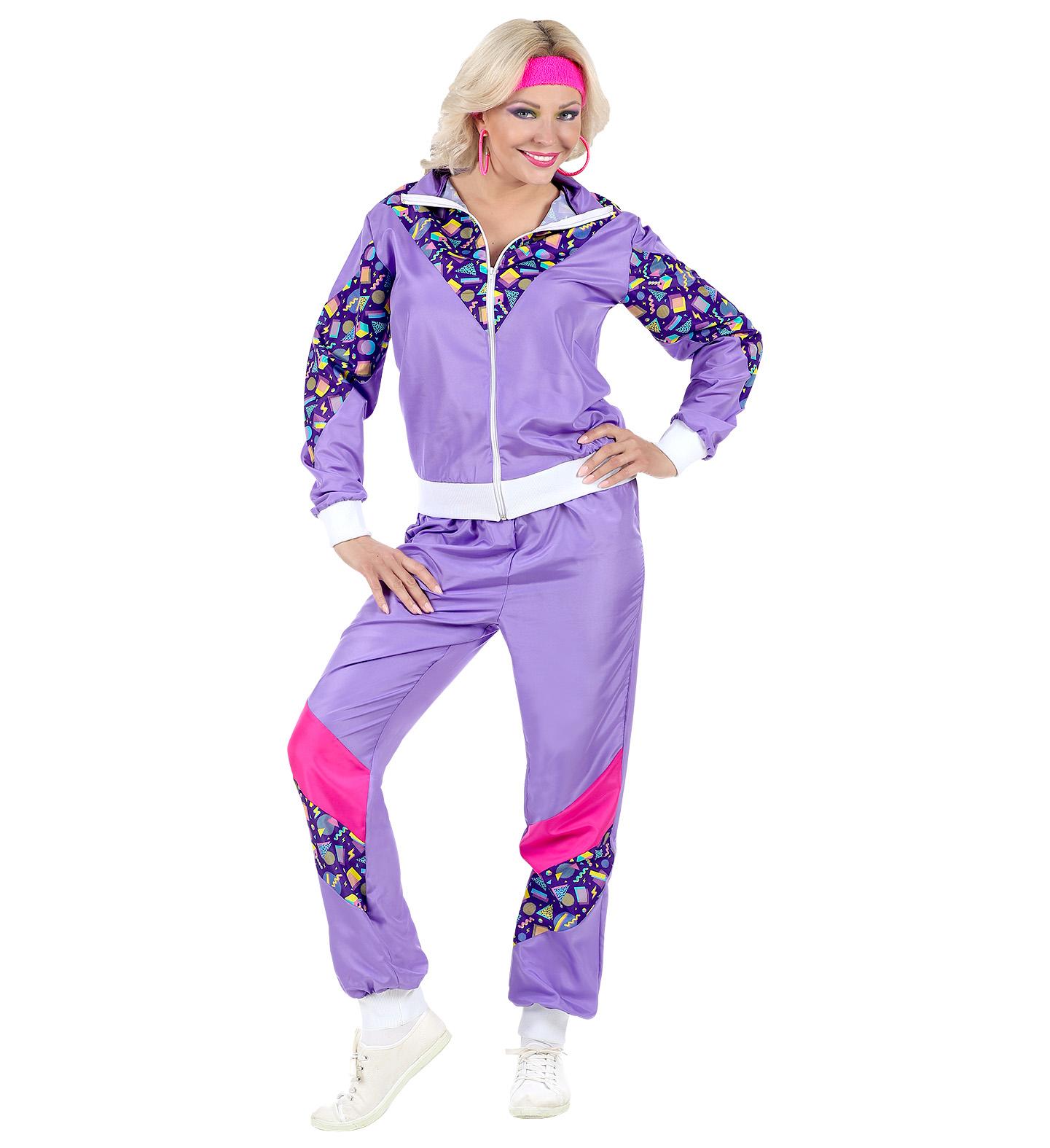 Womens Ladies 80S Shell Suit Tracksuit Purple Fancy Dress