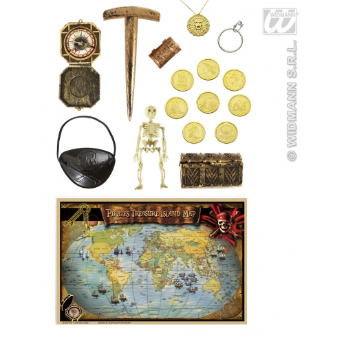 Pirate Kit Map Chest Coins Compass Jewellery Buccaneer Halloween Fancy Dress