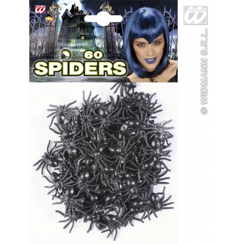 60 Spiders Set Creepy Crawly Insect Halloween Fancy Dress Accessory