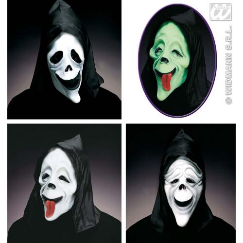 Hooded Ghost Mask Glow In Dark Grim Reaper Halloween Fancy Dress Accessory