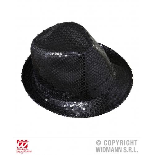 Black Sequin Fedora Hat Burlesque Stripper Dancer Fancy Dress Costume Accessory