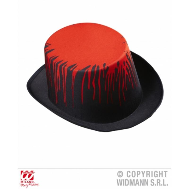 Black Top Hat With Red Blood Dripping Detail Grave Robber Fancy Dress Prop
