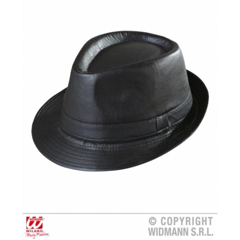 Black Leather Look Fedora Hat Cap Gangster Bugsy Malone Fancy Dress
