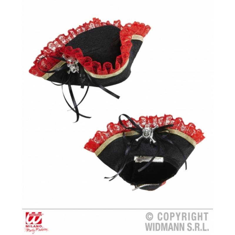 Mini Black Pirate Tricorn Hat With Skull Skeleton Detail Fancy Dress Prop