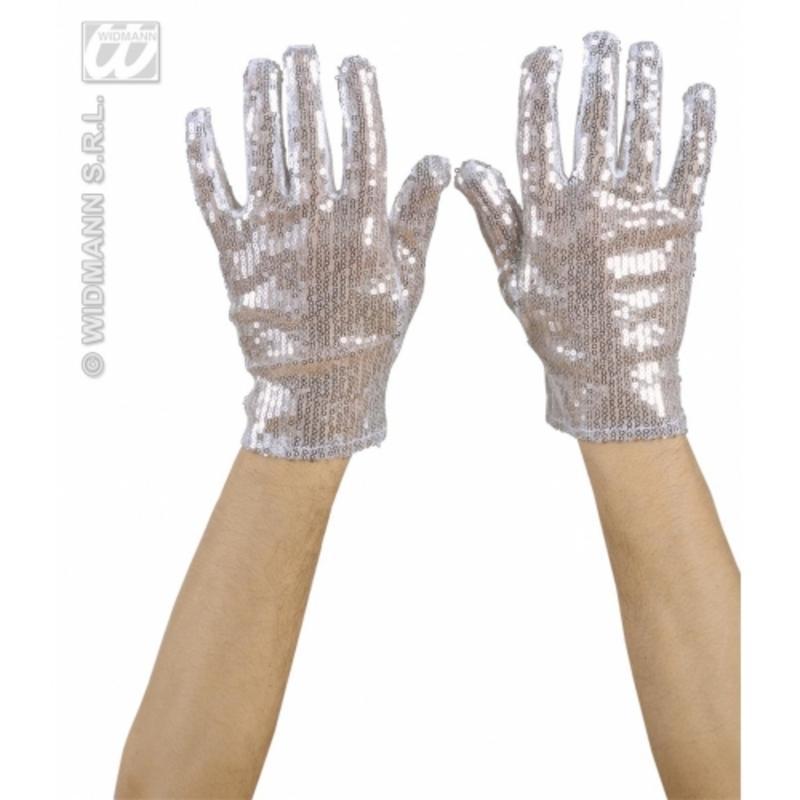 Silver Sequin Gloves Michael jackson Glitter Dancer Burlesque Fancy Dress