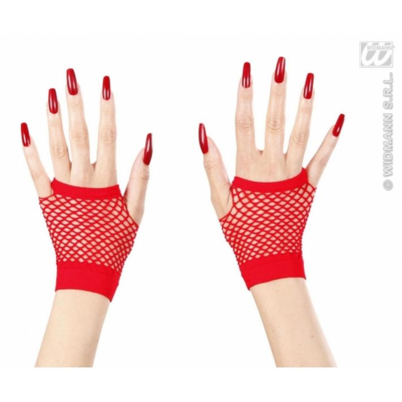 Short Red Fingerless Gloves Punk Devil Demon Ladies Fancy Dress