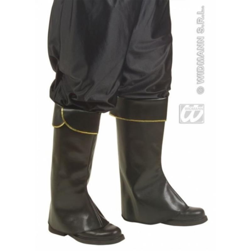 Black Leather Look Boot Tops Pirate Buccaneer Halloween Fancy Dress Accessory