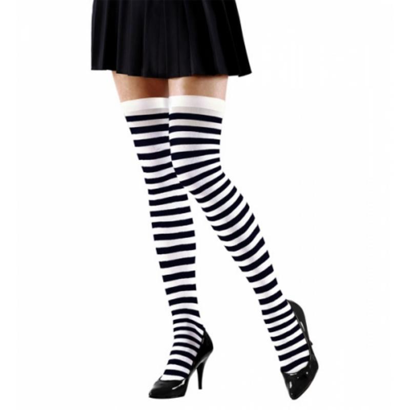 White Black Stripe Over Knee Socks Halloween Wednesday Addams Fancy Dress 70 Den