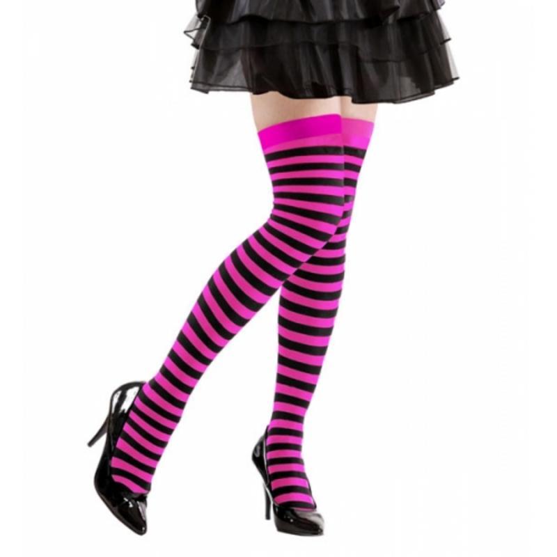 Pink Black Stripe Over Knee Socks Striped School Girl Fancy Dress 70 Den