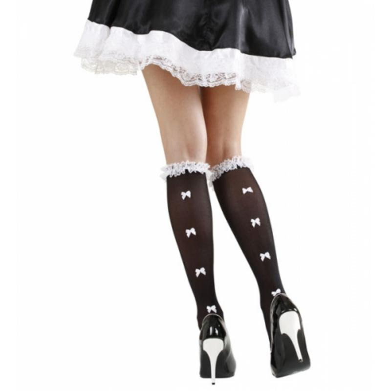 Sexy French Maid Black Socks With Lace & White Bows Fancy Dress Knee High
