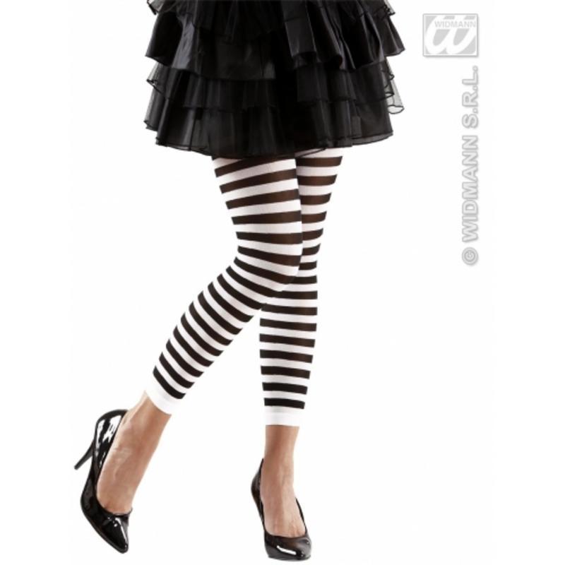 Ladies Black & White Striped Leggings Beetlejuice Halloween Fancy Dress - 70 Den