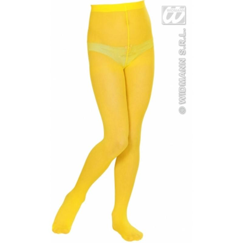 Childrens Neon Yellow Tights 7-10 Yrs Circus Party Fancy Dress Accessory