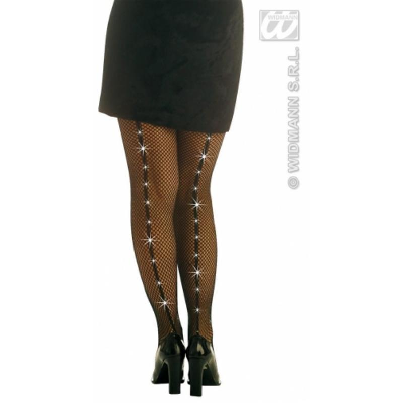 Black Fishnet Tights With Rhinestones Gothic Halloween Fancy Dress Accessory