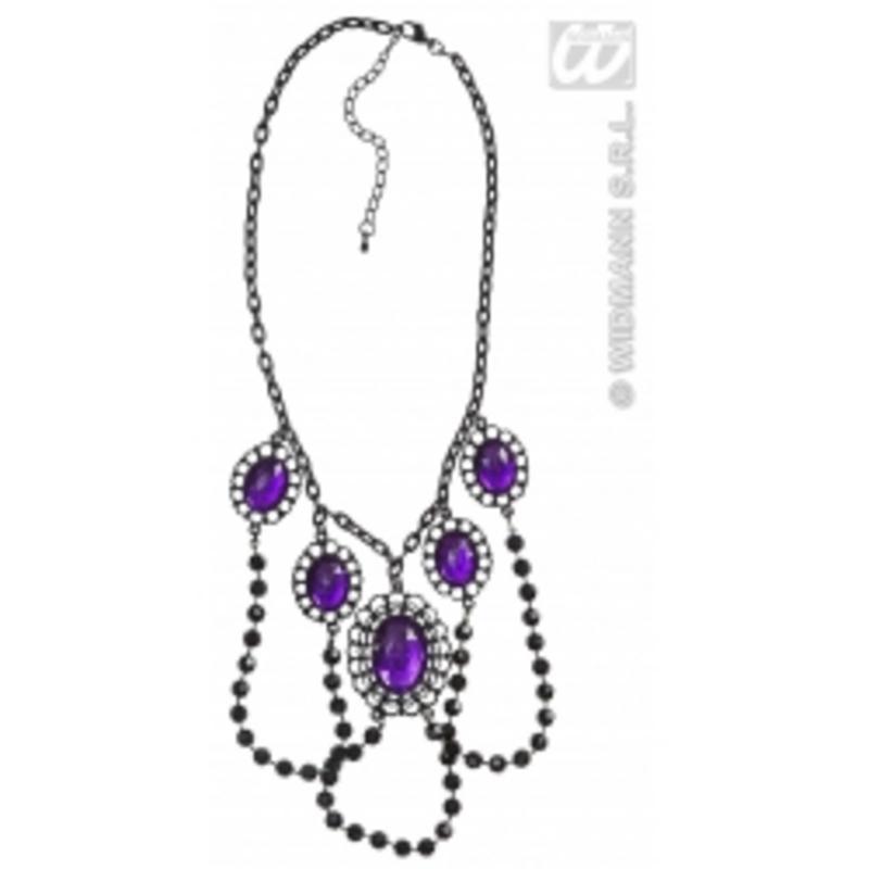 Black Beaded Choker With Purple Gems & Chain Rocker Goth Fancy Dress Jewellery