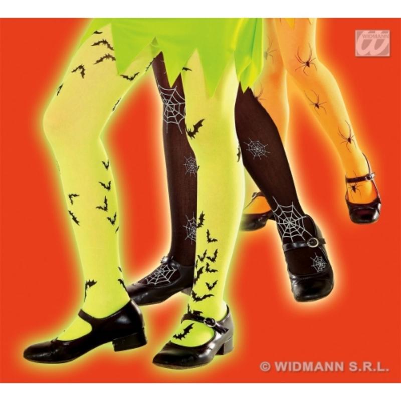 Childrens Neon Orange Bat Tights 4-6 Yrs Halloween Fancy Dress Accessory