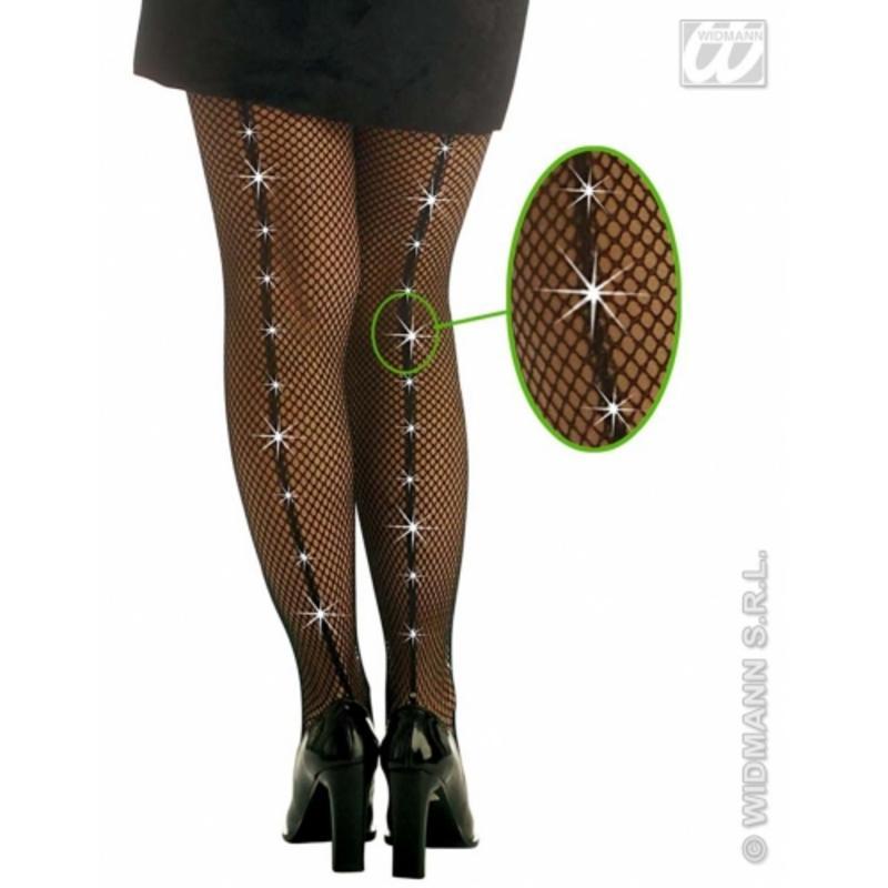 Ladies Black Fishnet Tights With Rhinestone Sexy Gothic Fancy Dress Accessory