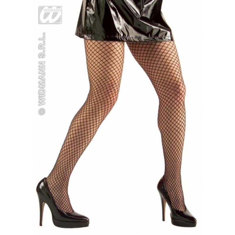 Ladies Black Wide Fishnet Tights Sexy Gothic Rocker Fancy Dress Accessory