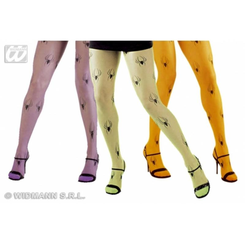 Ladies Neon Tights With Spider Motif Halloween Witch Fancy Dress Accessory