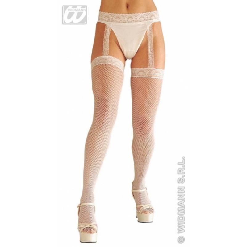 Ladies White Lace Fishnet Stocking With Garter Belt Sexy Fancy Dress Accessory