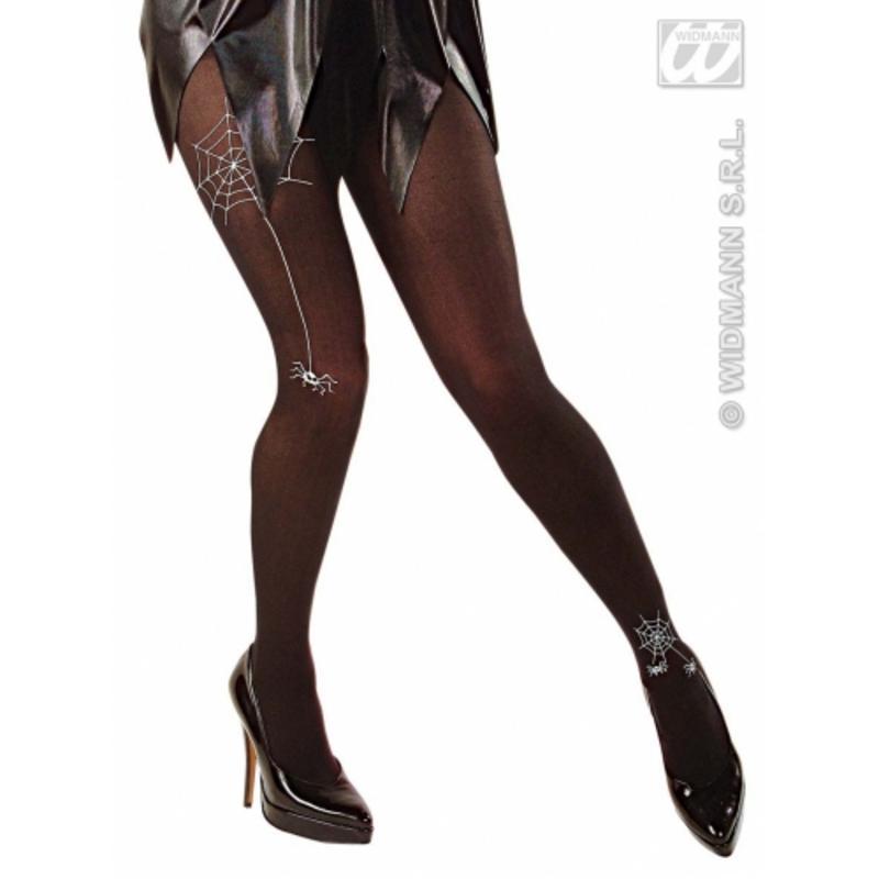Ladies Black Spider Tights Sexy Halloween Gothic Fancy Dress Accessory