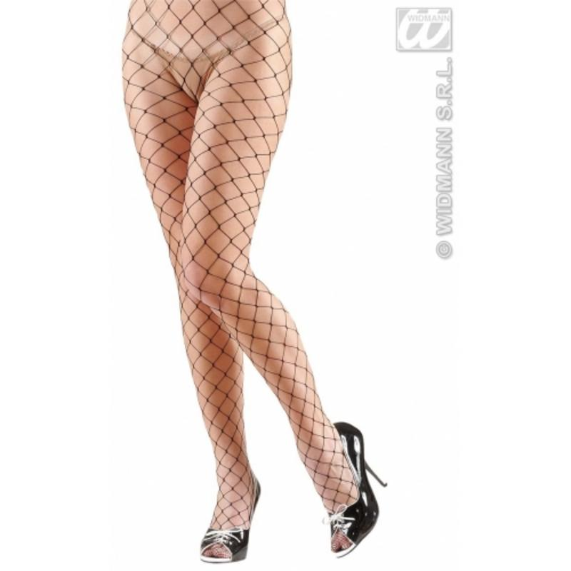 Ladies Black Wide Fishnet Tights Gothic Halloween Punk Fancy Dress Accessory