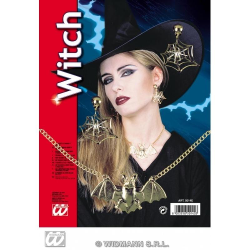 Ladies Witch Fancy Dress Jewellery Set - Necklace & Earrings Halloween