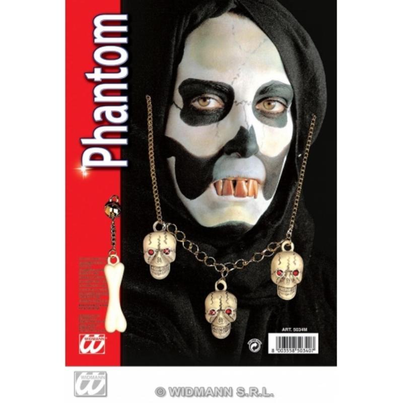 Skull Phantom Hallowen Fancy Dress COstume Jewellery Set Necklace & Earring