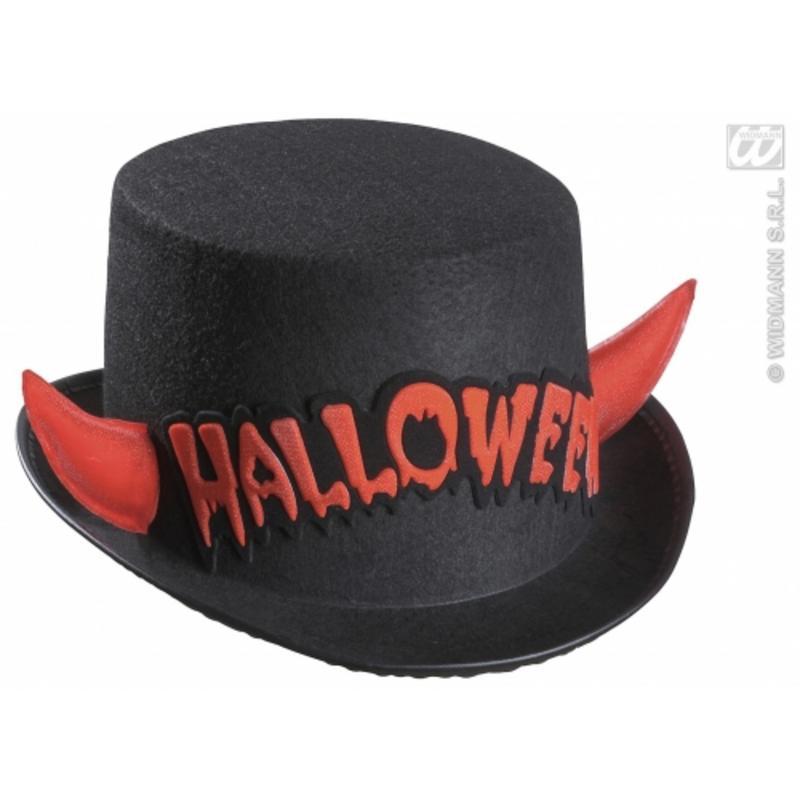 Ladies Black Top Hat With Red Devil Horns Halloween Fancy Dress Costume